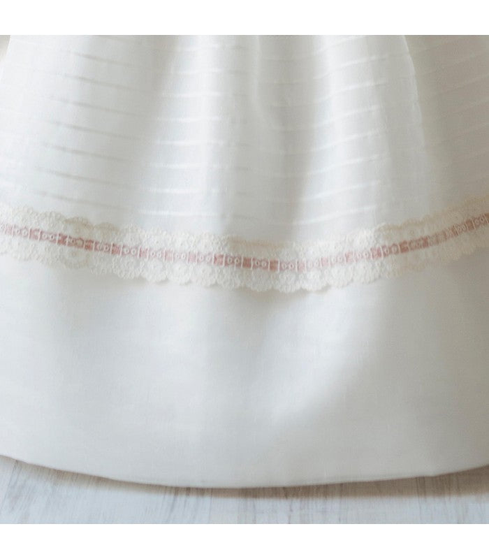 Elegant  French Sleeves Beige Stripes  Spanish Communion Gown Marla K198