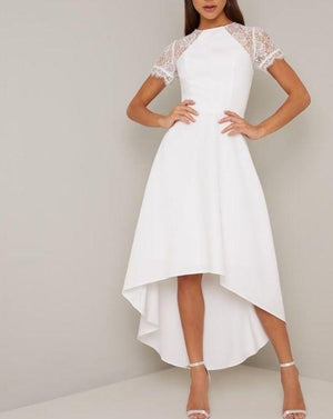Hi-Low Lace Cap Sleeves Informal Wedding Dress Ready to Ship Mimosa