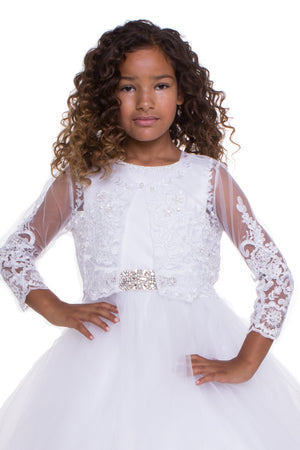 Sweet Beaded Long Sleeve Bolero B705 Wh