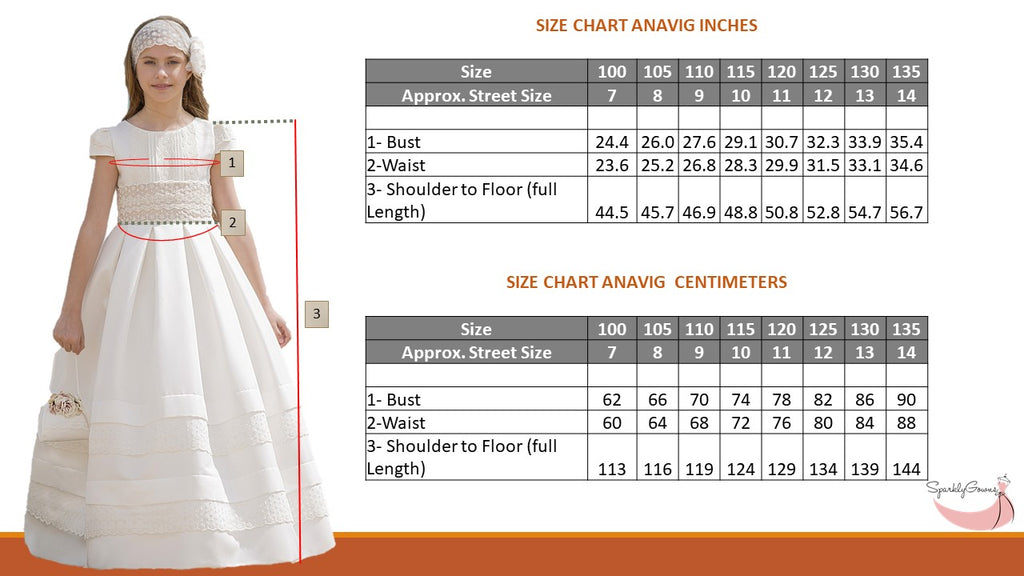 Ready to Ship Detachable Skirt  Anavig 6400  Spanish Communion Gown