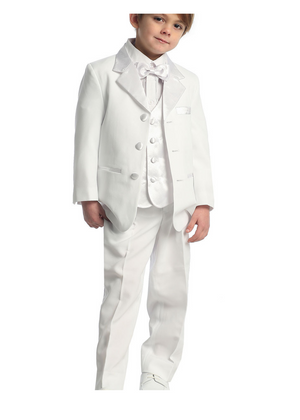 Boy's Tuxedo 5- pieces with Satin Vest for Communion, Ring Bearer. Sizes 2-28