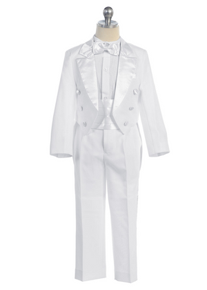 Boy's Tuxedo 5- pieces with Vest for Communion, Ring Bearer. Sizes 2-28