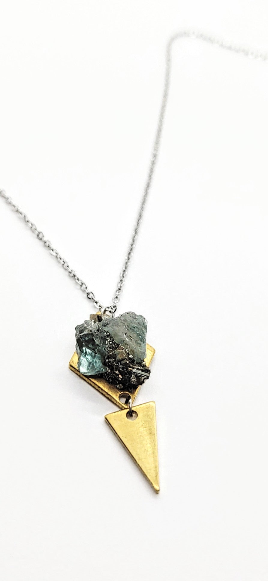 raw blue zircon aztec necklace