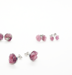 Load image into Gallery viewer, raw pink tourmaline studs