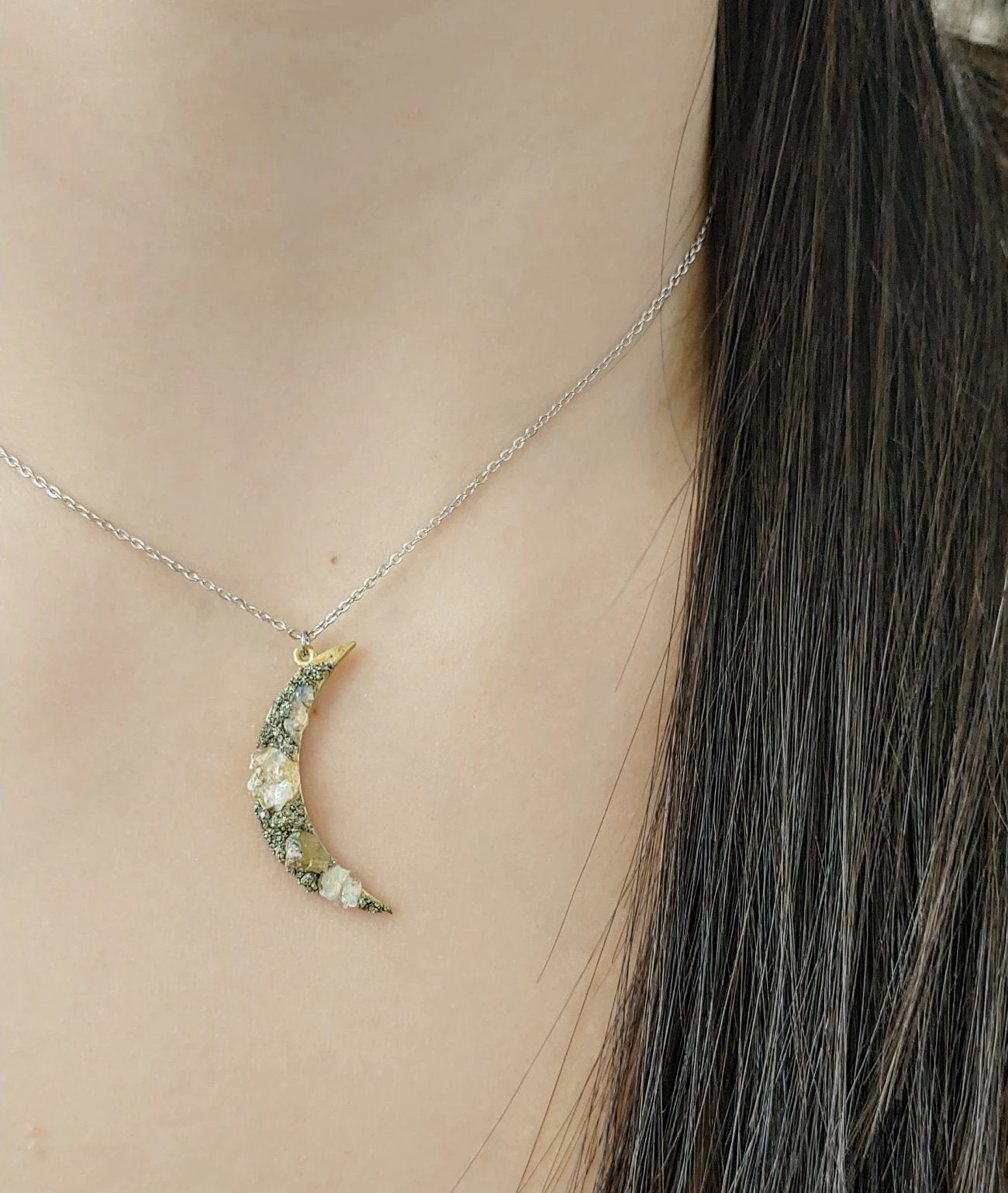 raw opal crescent moon necklace
