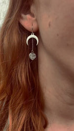 Load and play video in Gallery viewer, raw herkimer diamond steel moon dangles