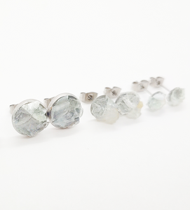 raw aquamarine studs