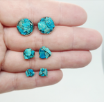 Load image into Gallery viewer, raw chrysocolla studs