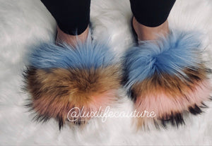 Neapolitan - Raccoon Fur Slides