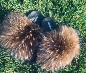 Natural Brown Raccoon Fur Slides