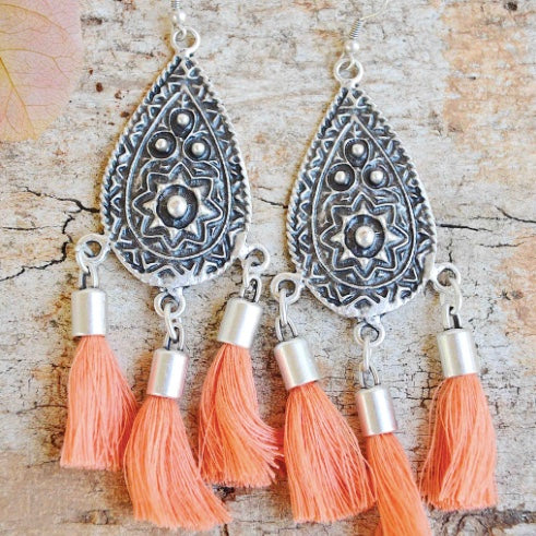 Sierra Tassel Earrings - Tangerine