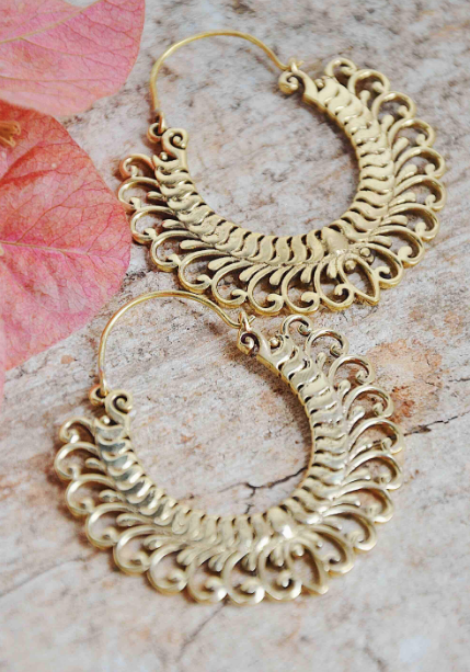 Brass Petal Earrings