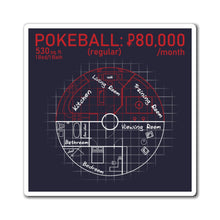 Load image into Gallery viewer, Pokeball Blueprint - Pokemon Magnet