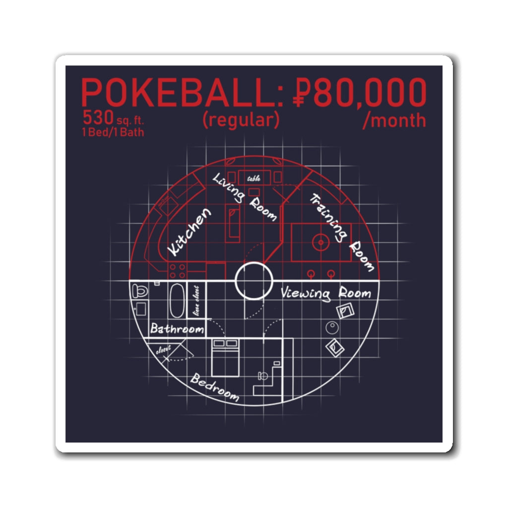 Pokeball Blueprint - Pokemon Magnet