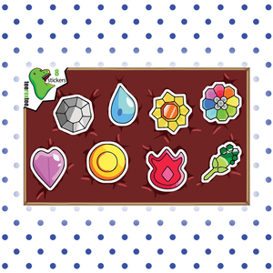 Kanto Gym Badges - Pokemon Sticker Half Sheet