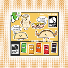 Load image into Gallery viewer, Macho Bell - Funny Food Sticker Half Sheet