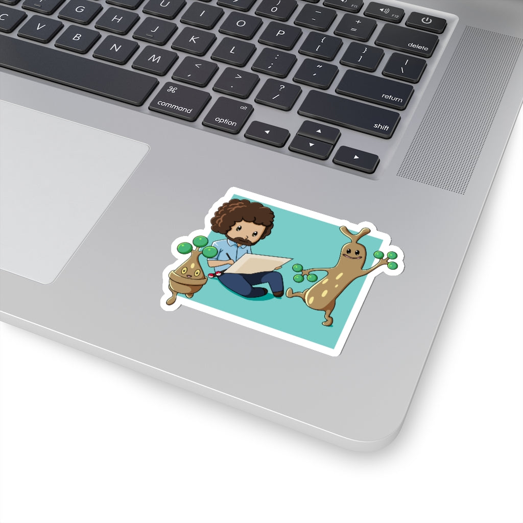 Bob Ross' Happy Little Trees - Pokemon & Bob Ross Vinyl Sticker