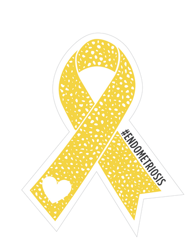 Yellow Ribbon #Endometriosis Holographic Sticker