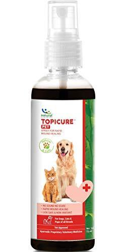 Natural Remedies Topicure Pet Wound Healing Spray for Dogs and Cats of All Breeds, 75ml