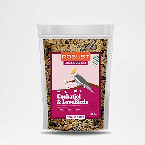 Robust Birdie's Delight | Nutritious Bird Food | for Cockateil & Lovebirds | Medium Birds | 800g Pack - Amanpetshop-