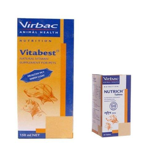 Pawsitively Pet Care 150 ml Vitabest Natural Vitamin Supplement with Vibac Nutrich - Pack of 60 Tablets - Amanpetshop-
