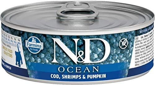 Farmina Pet Foods N&D Ocean Grain Free Kitten Cat Wet Food Cod, Shrimp & Pumpkin, 0.9 kg (Pack of 12) - Amanpetshop-