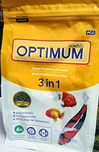 Optimum 3 in 1 Super Premium Formula Fish Food for Carp, Goldfish and Cichlid Spirulina 6% Floating Type Small Pellet (400g) with Free Pop - Up - Amanpetshop-