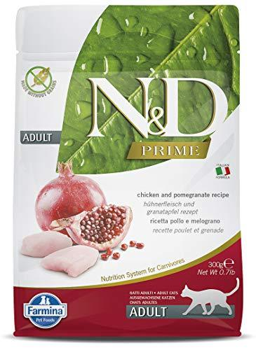Farmina N&D Prime Dry Cat Food, Adult, Grain-Free, 0.3-kg, Chicken and Pomegranate - Amanpetshop-