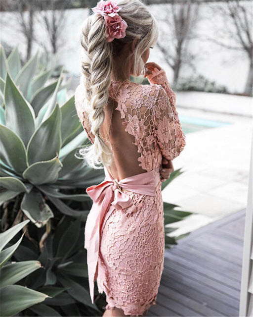 Backless Lace Dress-Pretty Shining People