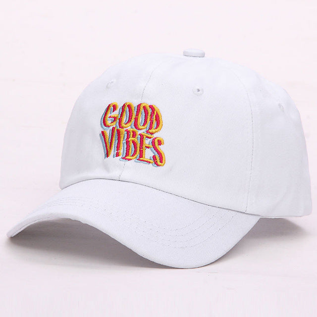 Good Vibes Baseball Cap-Pretty Shining People-White-Pretty Shining People