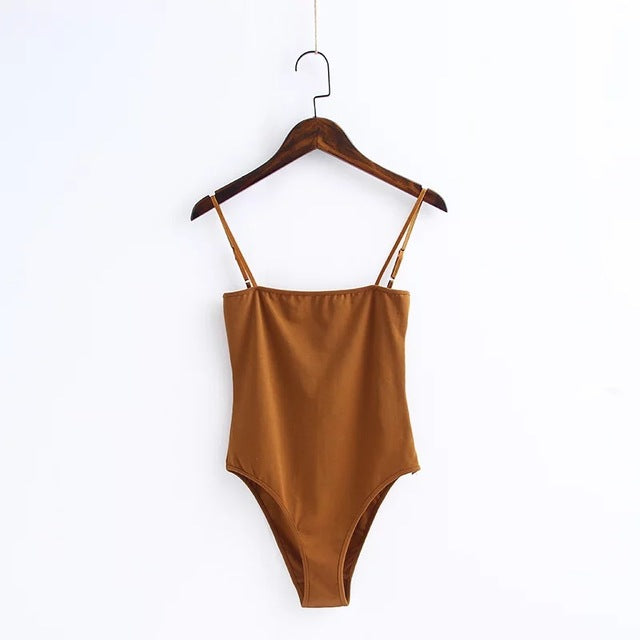Backless fit Romper-Pretty Shining People-Brown-S-Pretty Shining People