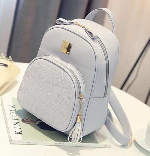 Leather backpack-Pretty Shining People-Gray-Pretty Shining People