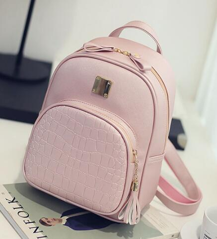 Leather backpack-Pretty Shining People-Pink-Pretty Shining People