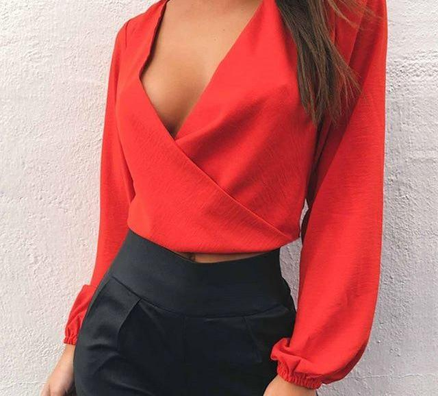 Full Sleeve V Neck Blouse-Pretty Shining People