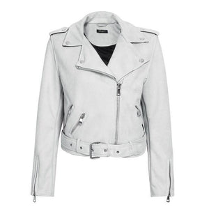 faux leather jacket-Pretty Shining People-Gray-S-Pretty Shining People