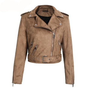 faux leather jacket-Pretty Shining People-Brown-S-Pretty Shining People