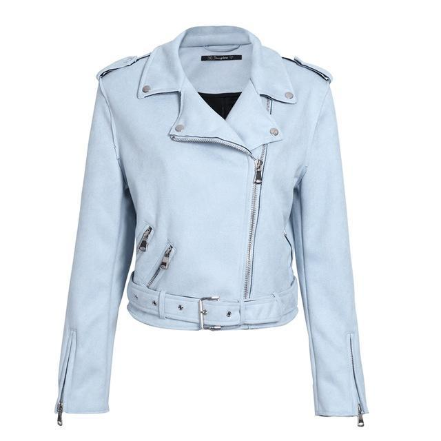 faux leather jacket-Pretty Shining People-Light Blue-S-Pretty Shining People