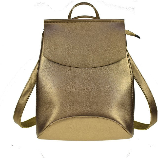 Leather Backpack-Pretty Shining People-Golden-China-Pretty Shining People