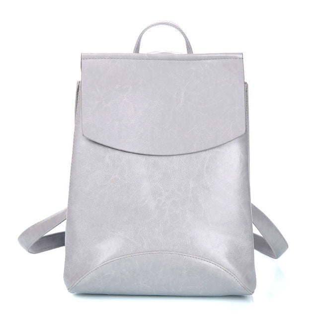 Leather Backpack-Pretty Shining People-Gray-China-Pretty Shining People