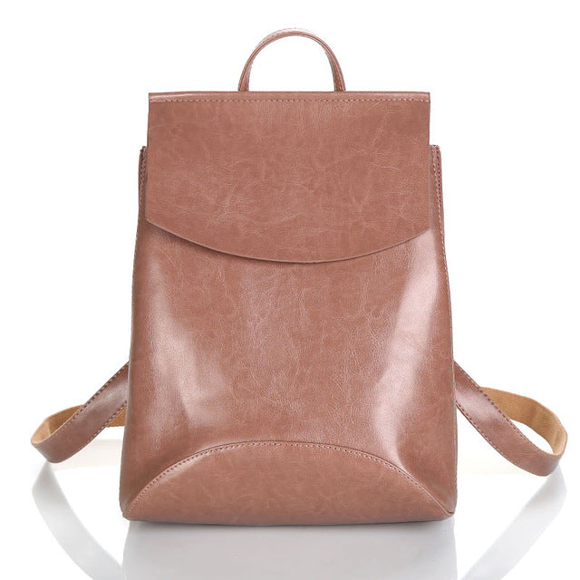 Leather Backpack-Pretty Shining People-Dark Pink-China-Pretty Shining People