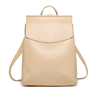 Leather Backpack-Pretty Shining People-Beige-China-Pretty Shining People