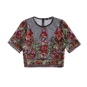 Flower Embroidery Mesh Blouse-Pretty Shining People