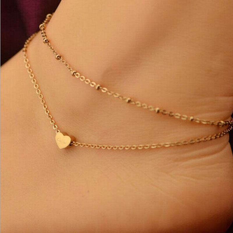 Heart Bead Anklet-Pretty Shining People
