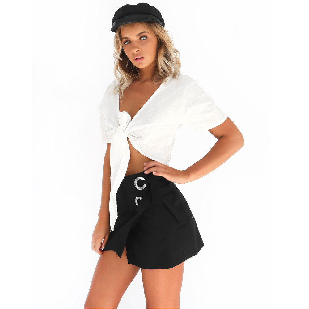 High Waist Lace-Up Skirt-Pretty Shining People