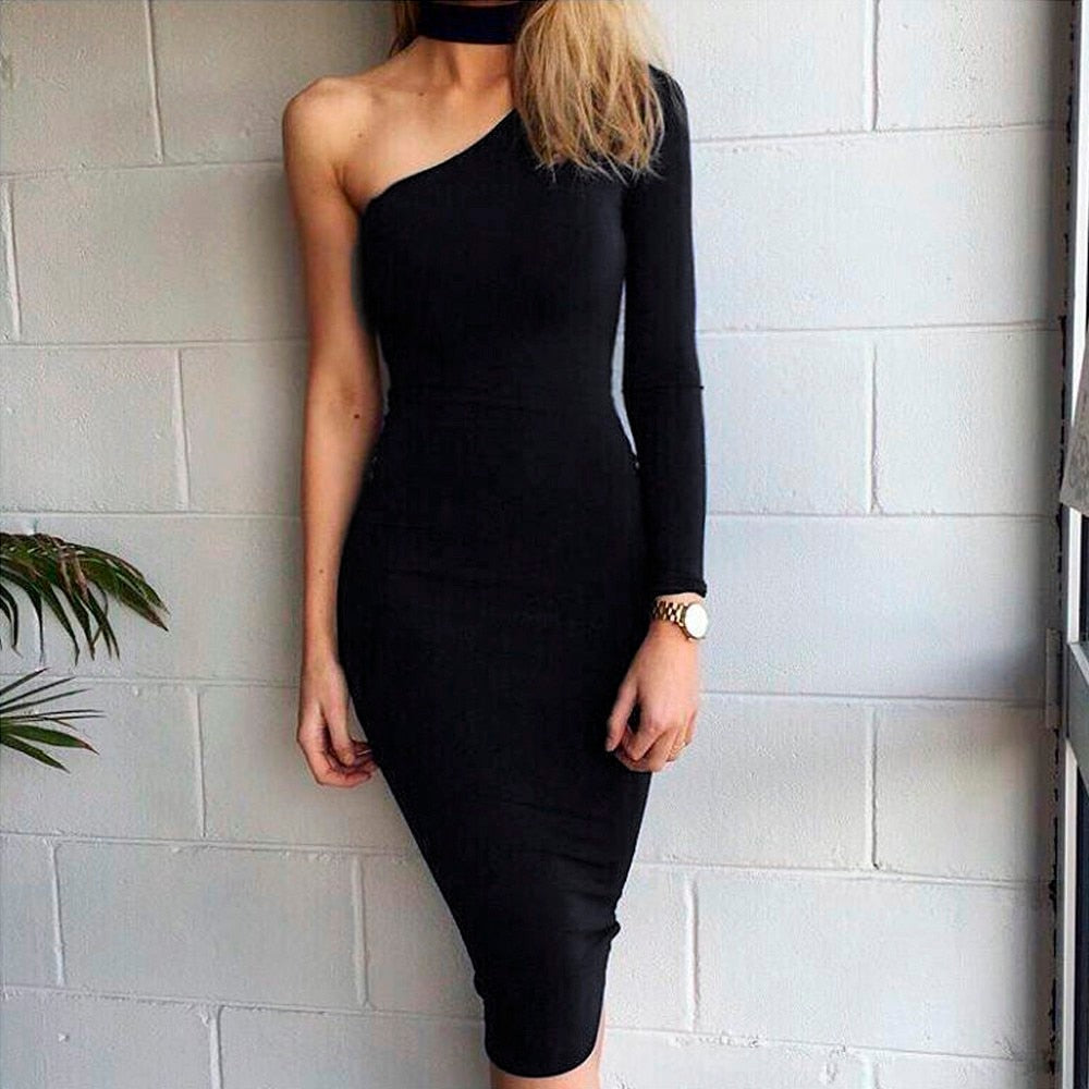 One Shoulder Halter Pencil Dress-Pretty Shining People
