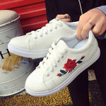 Sneakers With Embroidery Flowers-Pretty Shining People