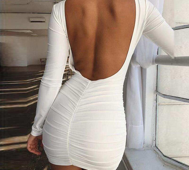 Backless Long Sleeve Bodycon Dress-Pretty Shining People