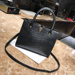 Alligator Pattern Shoulder Bag-Pretty Shining People-Black-Pretty Shining People