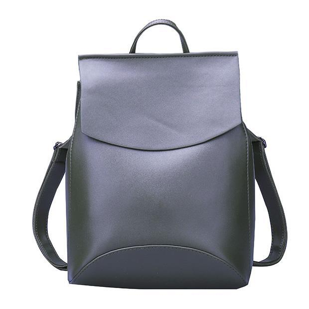 Leather Backpack-Pretty Shining People-Army Green-China-Pretty Shining People