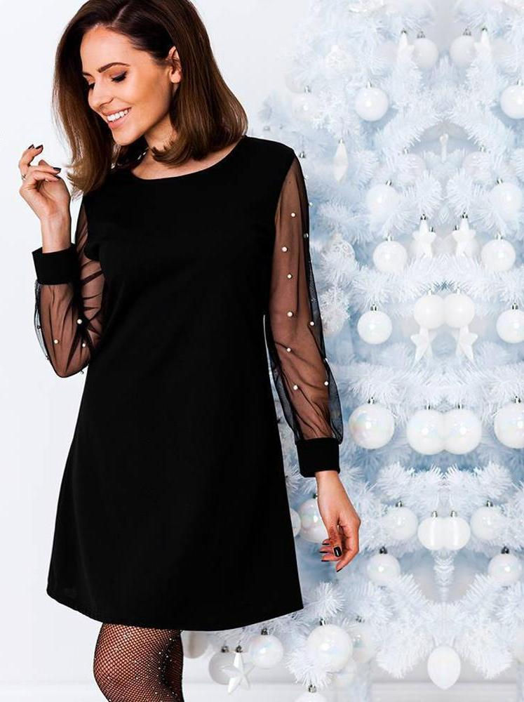 Pearls Beading Long Sleeve Dress-Pretty Shining People